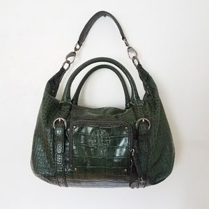 Antonio Melani Jade Green Croc Leather Satchel